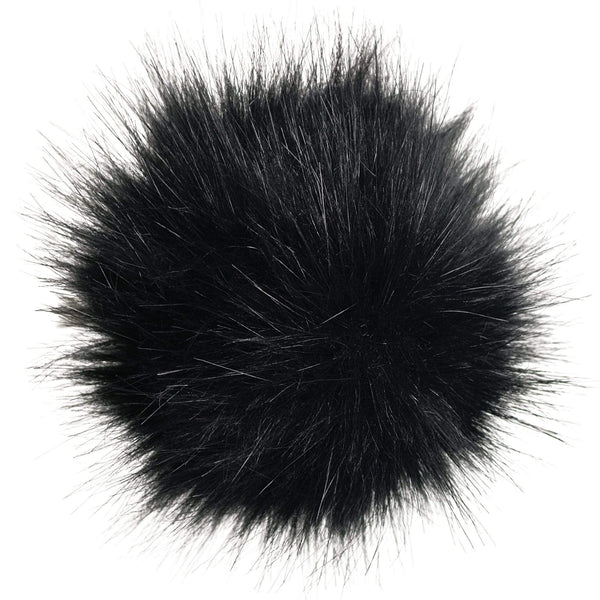 Faux-fur pompoms - black