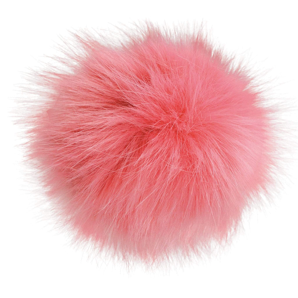 Faux-fur pompoms - bordeau pink