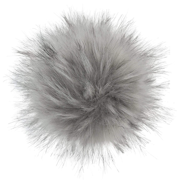 Faux-fur pompoms - gray