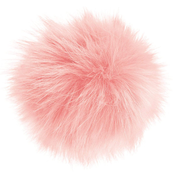 Faux-fur pompoms - light pink