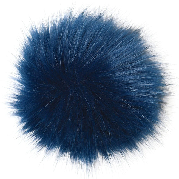 Faux-fur pompoms - navy blue