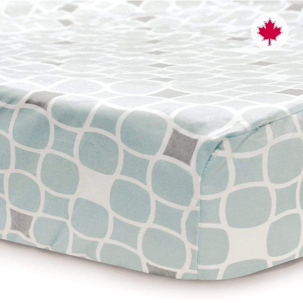 Crib flat sheet - blue tiles