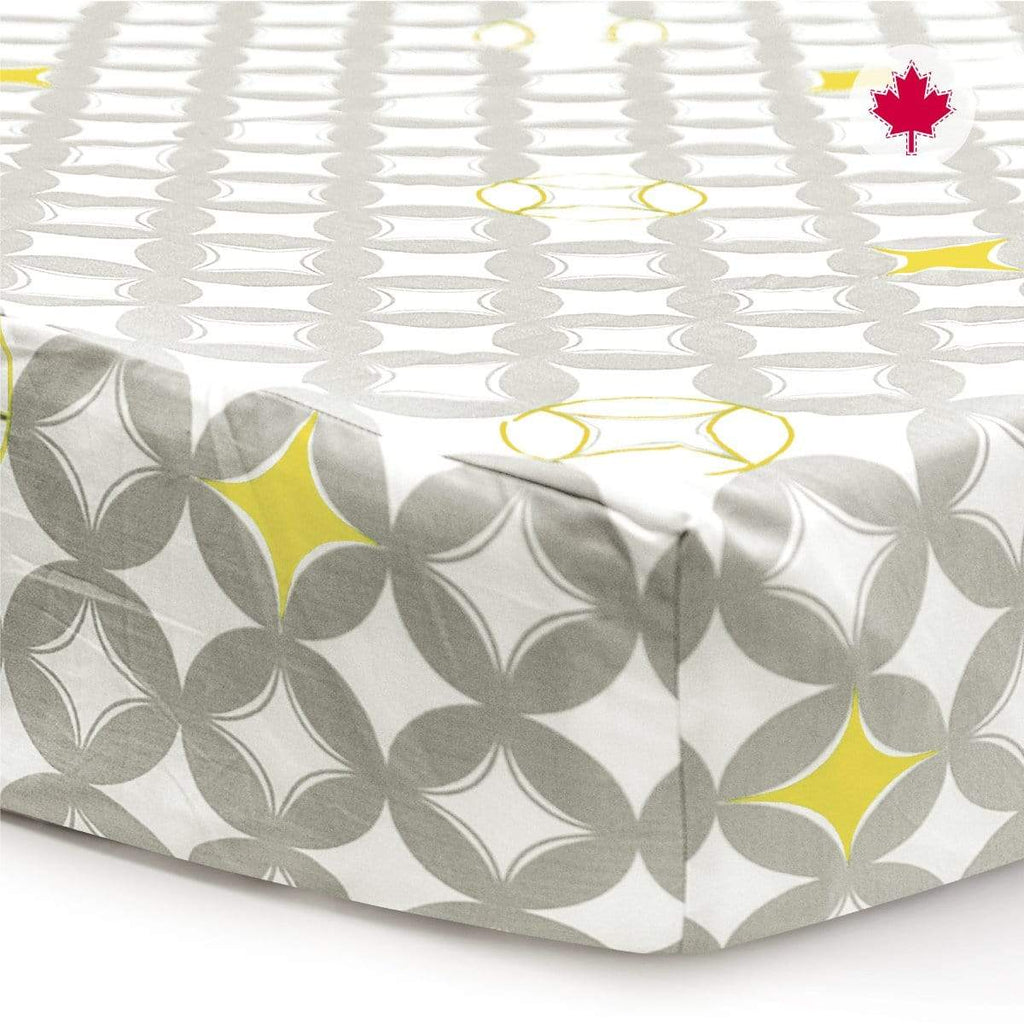 Crib fitted sheet - yellow circles