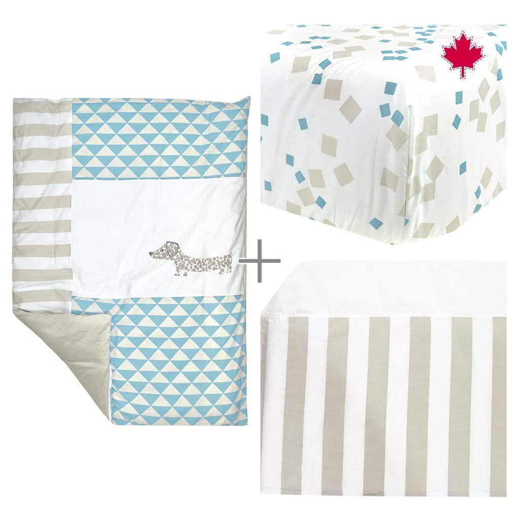 4 pieces crib set - blue dog
