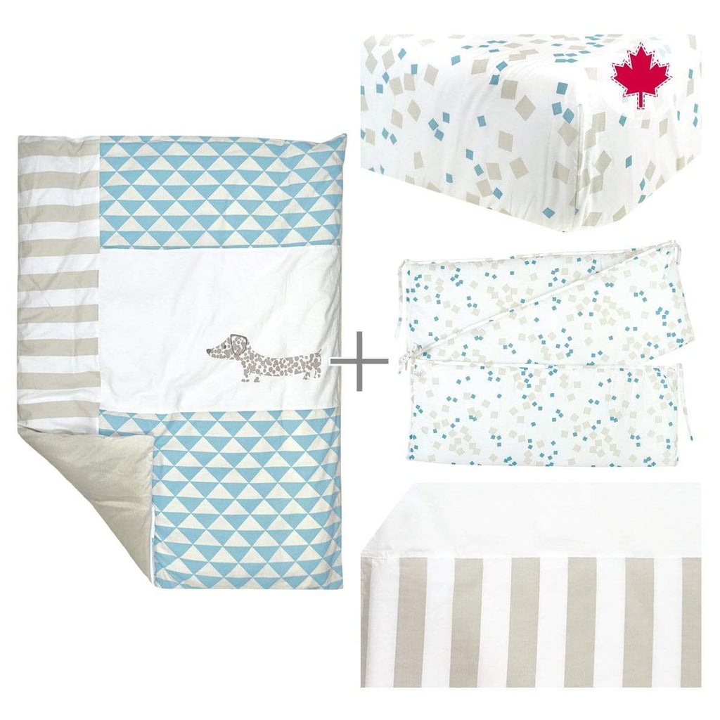 5 pieces crib set - blue dog
