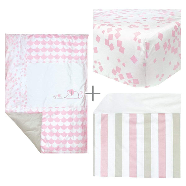 4 pieces crib set - pink mouse