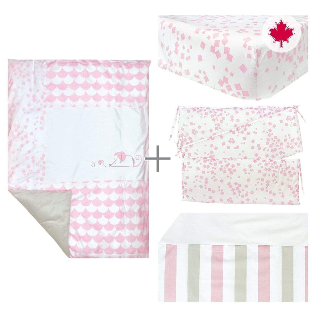 5 pieces crib set - pink mouse