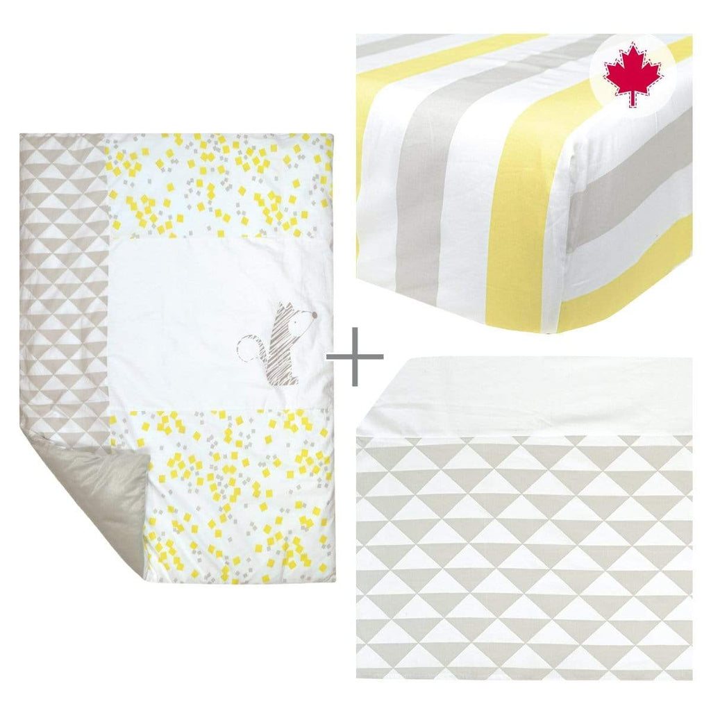 4 pieces crib set - yellow fox