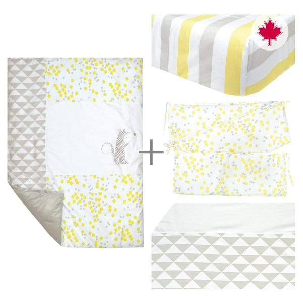 5 pieces crib set - yellow fox