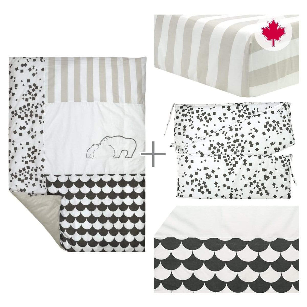 5 pieces crib set - charcoal bear