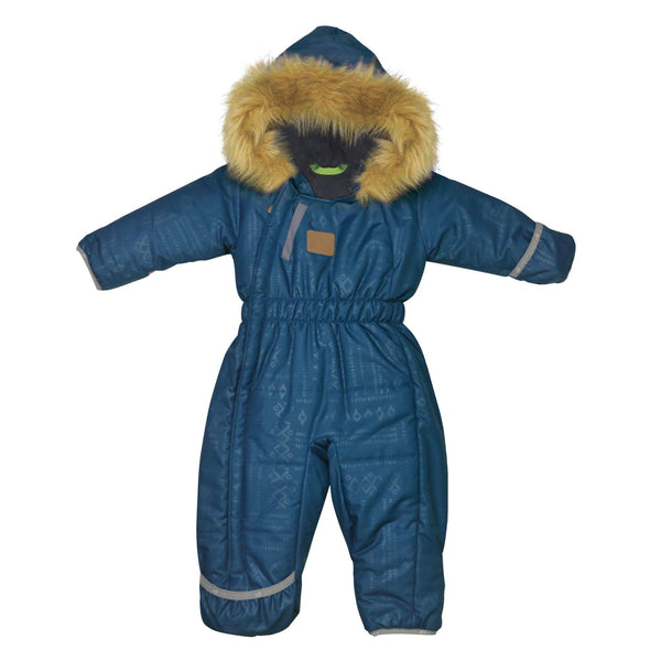 One piece baby snowsuit - Denim aztec