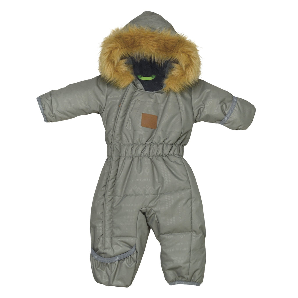 One piece baby snowsuit - Kaki aztec