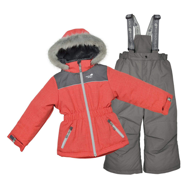 Two pieces girl kid snowsuit - Langoustine-charcoal