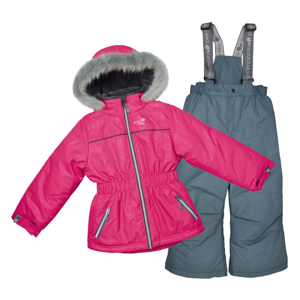 Two pieces girl kid snowsuit - Boreal aztec-blue gray