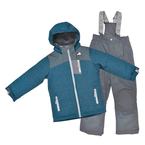 Two pieces boy kid snowsuit - Orage-blue gray-gray