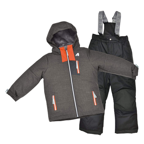 Two pieces boy kid snowsuit - Coal-orange-black
