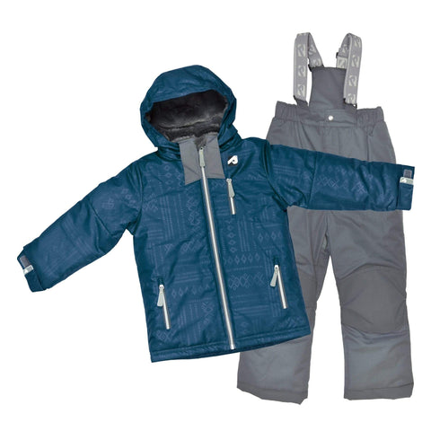 Two pieces boy kid snowsuit - Denim aztec-gray