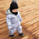 One-piece baby snowsuit - Grey deers