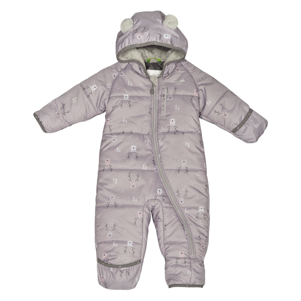 One-piece baby snowsuit - Plum deers