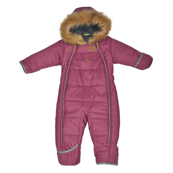 One piece baby snowsuit - Chevrons cassis