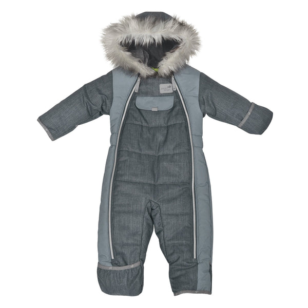 One piece baby snowsuit - Chevrons charcoal
