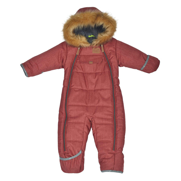 One piece baby snowsuit - Chevrons spicy