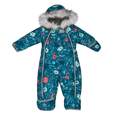 One piece baby snowsuit - Flowers