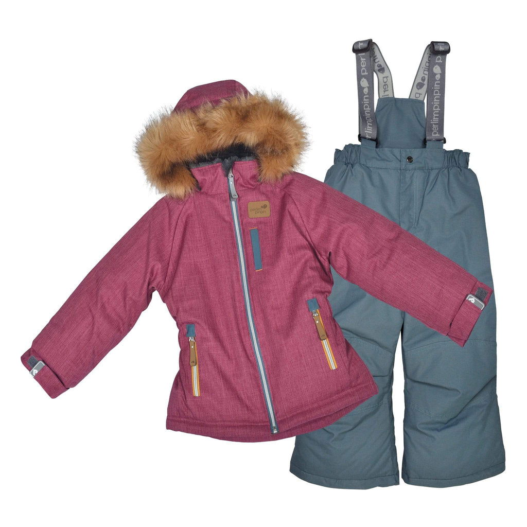Two pieces girl kid snowsuit - Textured cassis