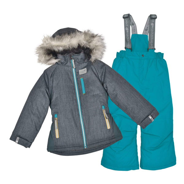Two pieces girl kid snowsuit - Textured charcoal