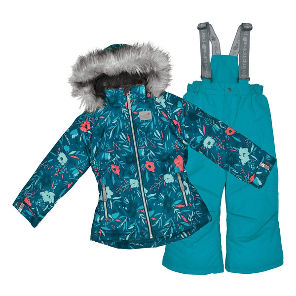 Two pieces girl kid snowsuit - Flowers