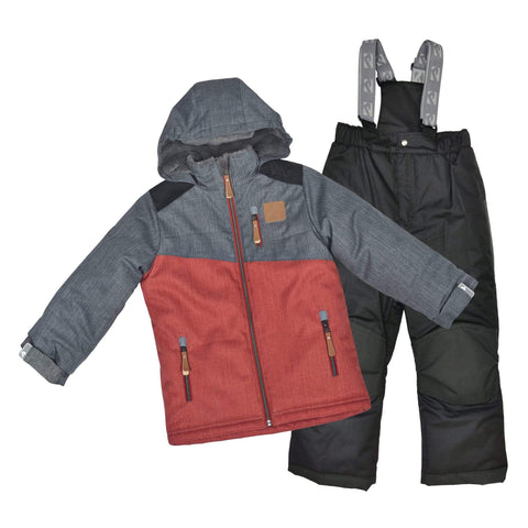 Two pieces boy snowsuit - Textured charcoal & spicy