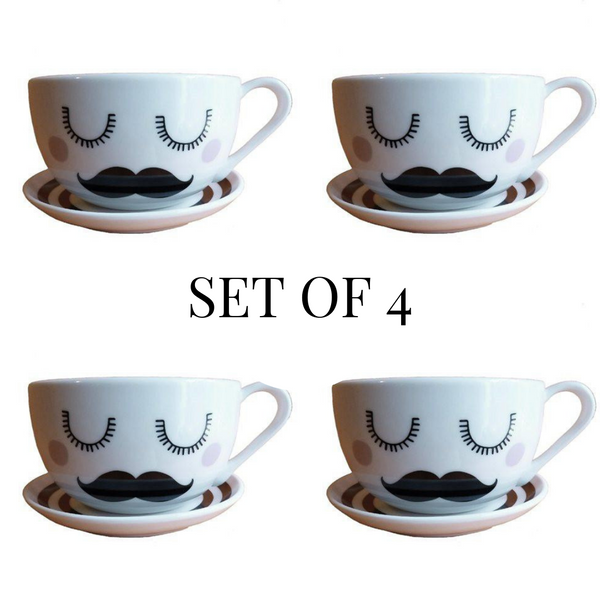 Set of 4 Tash Tea Cup & Saucer - Kate Garey