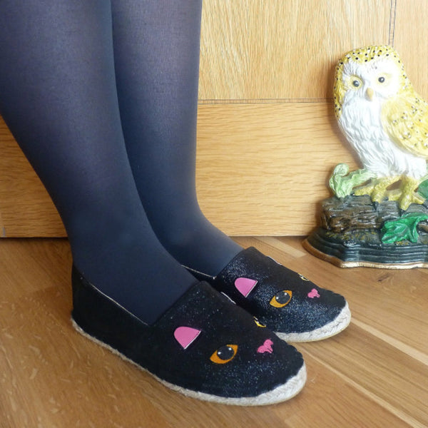 Black Cat Glitter Espadrilles - Kate Garey