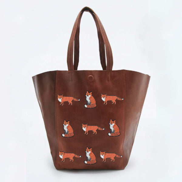 Little Foxes Brown Extra Large Leather Shopper *Limited edition* - Kate Garey