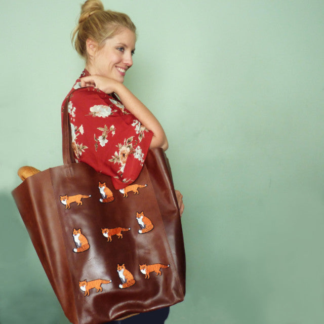 Little Foxes Brown Extra Upcycled Large Leather Shopper