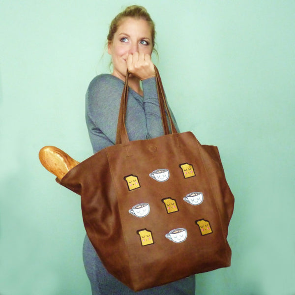 Tea & Toast Brown Large Leather Shopper *Limited edition*