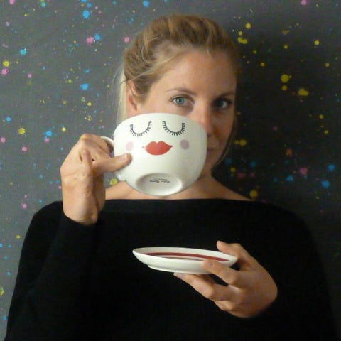 Lips Tea Cup & Saucer - Kate Garey