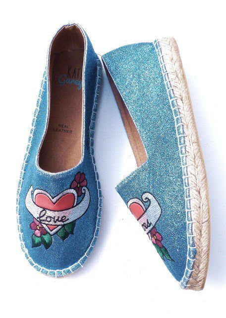 Love Shoes Tattoo Heart Glitter Espadrilles - Kate Garey
