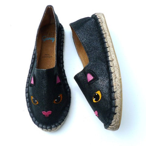 Black Cat Glitter Espadrilles
