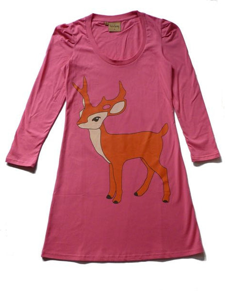 Stag Jersey Dress - Hot Pink
