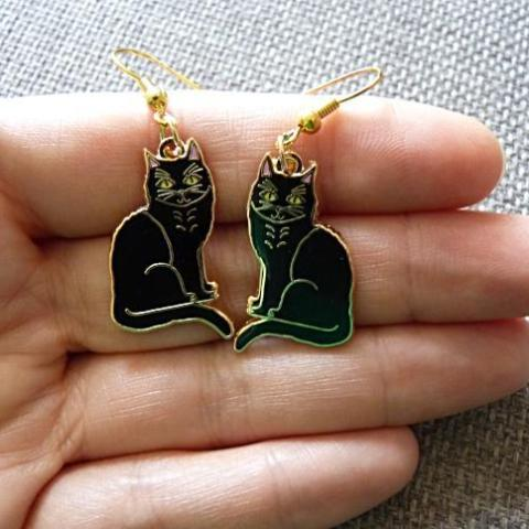 Black Cat Earrings - Kate Garey