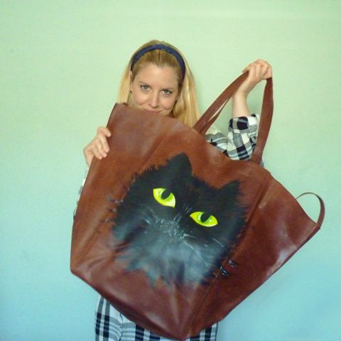 Hand Painted Cat Face Upcycled Large Leather Shopper - Kate Garey