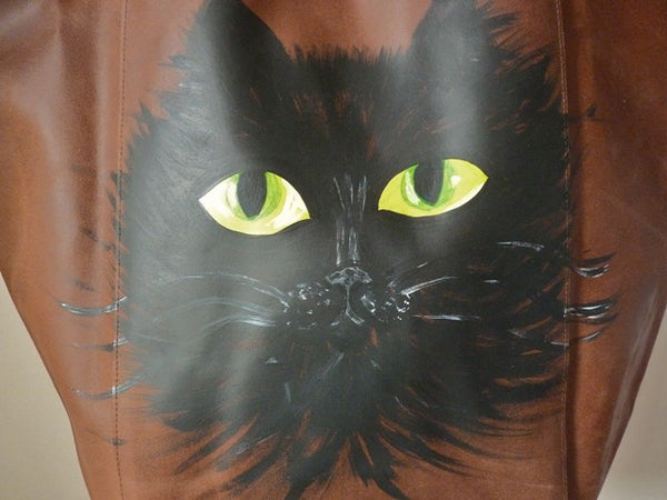 Hand Painted Cat Face Upcycled Large Leather Shopper