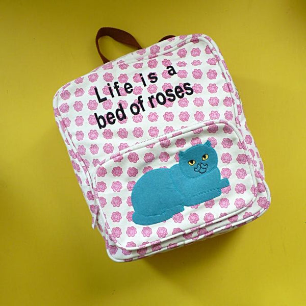 Rosy Cat Canvas Backpack - Kate Garey