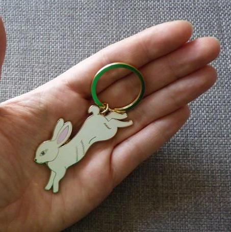 White Rabbit Keyring - Kate Garey