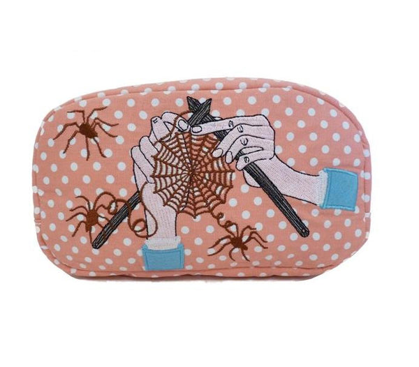 A Knitted Web cosmetic bag - Kate Garey