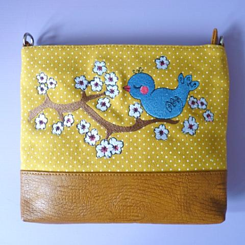 Blue Bird Over Shoulder Bag - Kate Garey