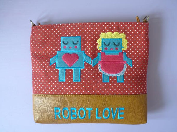 Robot Love Over Shoulder Bag - Kate Garey