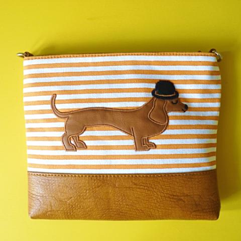 Mr Sausage Dog Over Shoulder Bag - Kate Garey