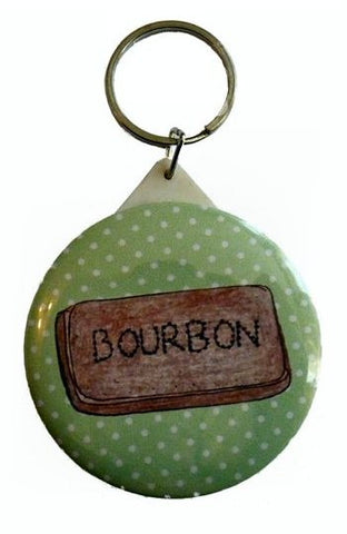 Bourbon Biscuit Pocket Mirror Keyring - Kate Garey
